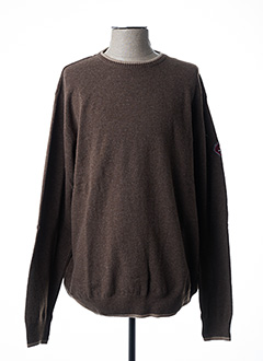 Pull col rond marron DELAHAYE pour homme