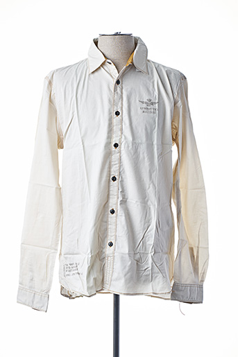 Chemise manches longues beige AERONAUTICA pour homme
