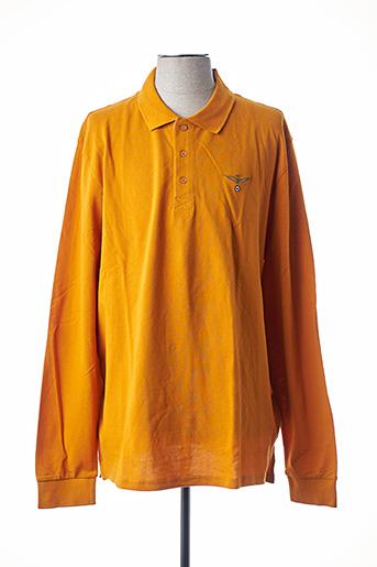Polo manches longues jaune AERONAUTICA pour homme