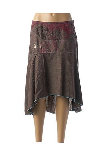Jupe mi-longue marron COCO MENTHE pour femme