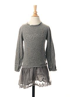 Robe mi-longue gris 3 POMMES pour fille