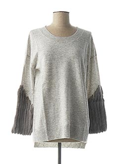 Pull col rond gris MAX & MOI pour femme