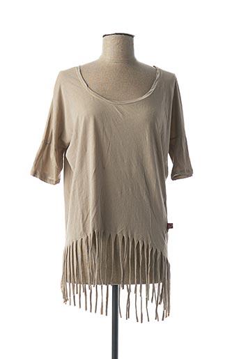T-shirt manches courtes beige I LOVE MY T'S pour femme