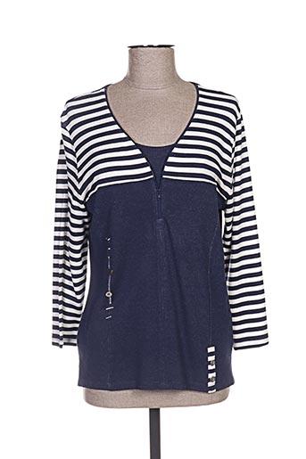 T-shirt manches longues bleu FRANCE RIVOIRE pour femme