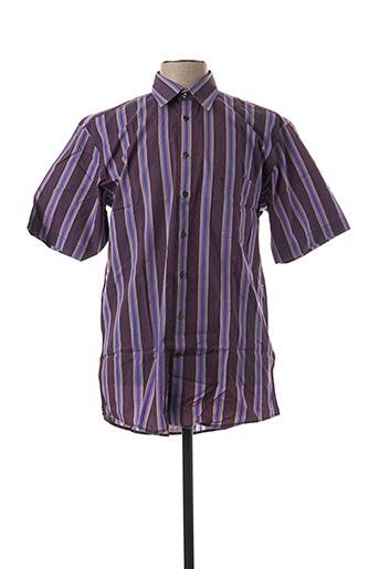 Chemise manches courtes violet SEIDEN STICKER pour homme