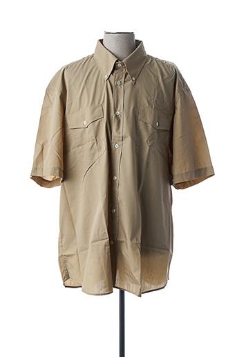 Chemise manches courtes beige BRAND pour homme