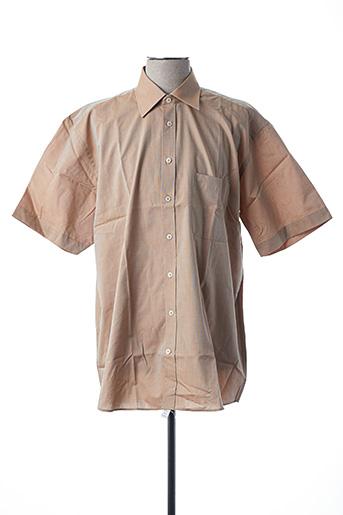 Chemise manches courtes beige SEIDEN STICKER pour homme