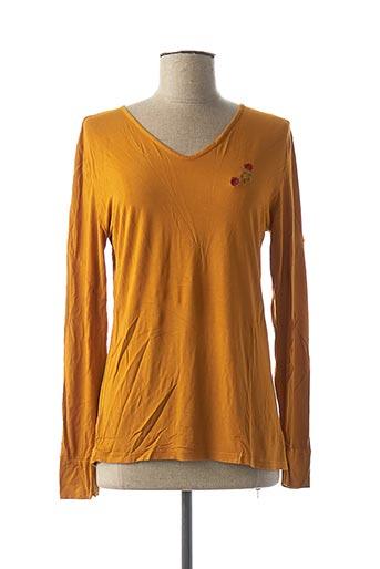 T-shirt manches longues orange DENIM &DRESS pour femme