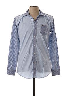Chemise manches longues bleu DELAHAYE pour homme