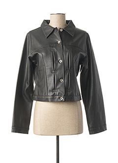 Veste simili cuir noir USED JEANS pour femme