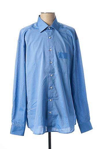 Chemise manches longues bleu LUIGI MORINI pour homme
