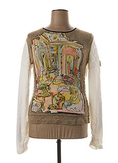 Pull col rond beige ELISA CAVALETTI pour femme