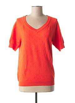Pull col V orange FELINO pour femme