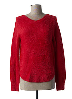 Pull col rond rouge PAUSE CAFE pour femme