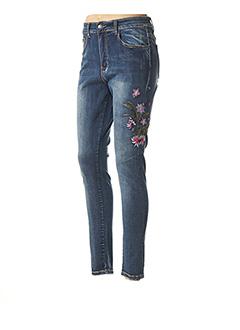 Jeans coupe slim bleu ROSE PLAYER pour femme