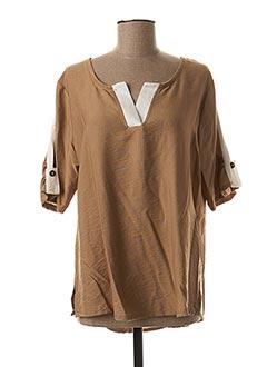 T-shirt manches courtes beige HALOGENE pour femme