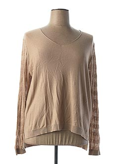Pull col V beige TEDDY SMITH pour femme