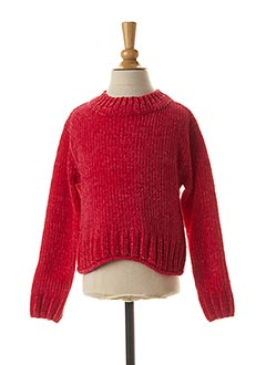 Pull col rond rouge 3 POMMES pour fille