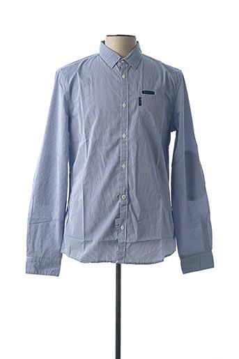 Chemise manches longues bleu GUESS pour homme