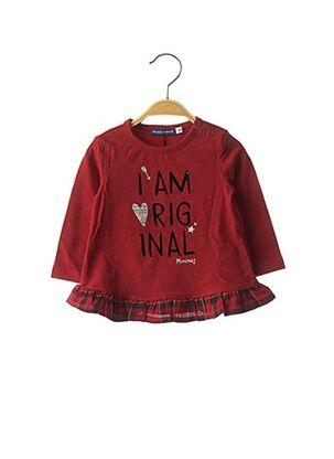 T-shirt manches longues rouge ORIGINAL MARINES pour fille