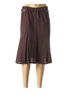 Jupe mi-longue marron DUOS pour femme