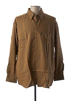 Chemise manches longues marron PIERRE CLARENCE pour homme