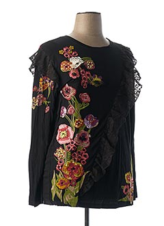 T-shirt manches longues noir DESIGUAL pour femme