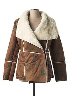 Veste simili cuir marron DESIGUAL pour femme