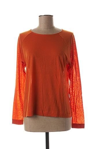 T-shirt manches longues orange BLANC BOHEME pour femme