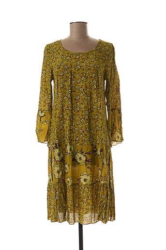 Robe mi-longue vert BLANC BOHEME pour femme