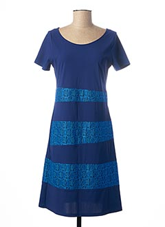 Robe mi-longue bleu PAUSE CAFE pour femme