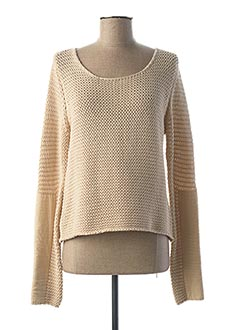 Pull col rond beige AND LESS pour femme