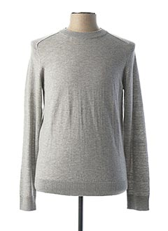 Pull col rond gris SELECTED pour homme