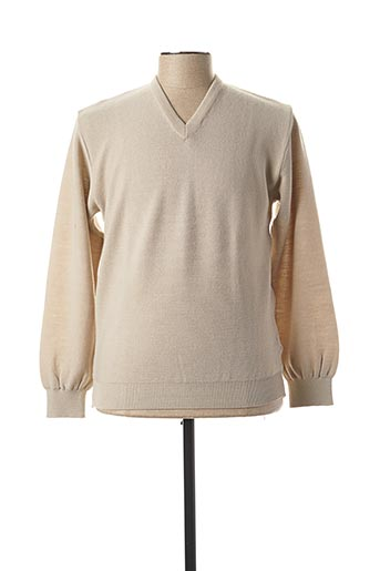 Pull col V beige BERAC pour homme