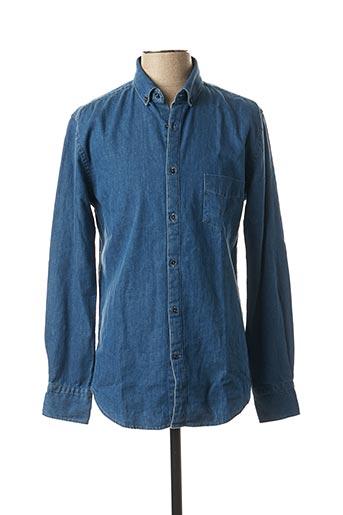 Chemise manches longues bleu CARNET DE VOL pour homme