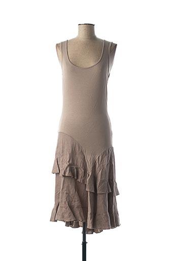 Robe mi-longue marron POUSSIERE D'ETOLE pour femme