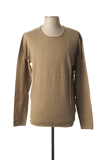 Pull col rond marron SELECTED pour homme