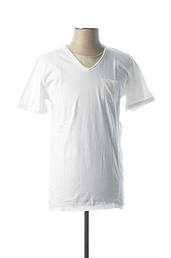 T-shirt manches courtes blanc VNECK pour homme