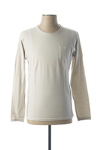 T-shirt manches longues beige VNECK pour homme