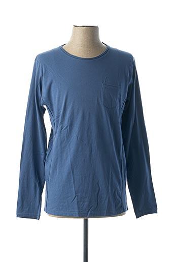 T-shirt manches longues bleu VNECK pour homme