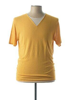 T-shirt manches courtes jaune VNECK pour homme