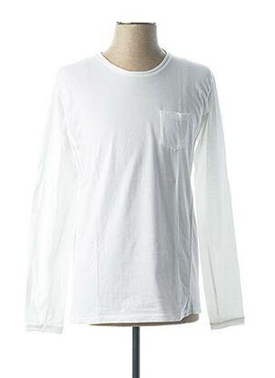 T-shirt manches longues blanc VNECK pour homme