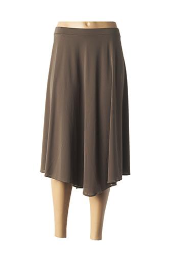Jupe mi-longue marron ELENA MIRO pour femme