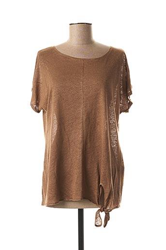 T-shirt manches courtes marron COWEST pour femme