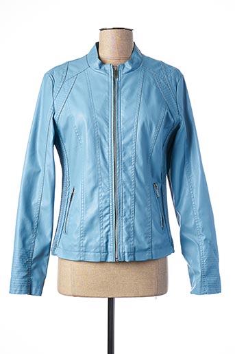 Veste simili cuir bleu ANDAMIO pour femme