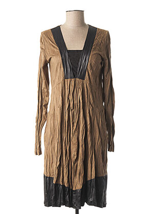 Robe mi-longue marron LAUREN VIDAL pour femme