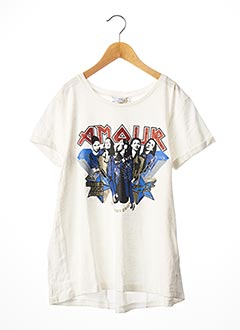 T-shirt manches courtes blanc LE TEMPS DES CERISES pour fille