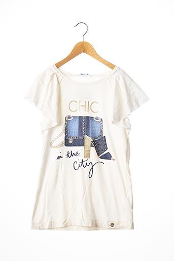 T-shirt manches courtes blanc MAYORAL pour fille