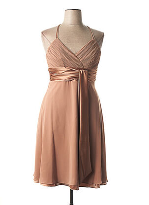 Robe mi-longue marron FASHION NEW YORK pour femme