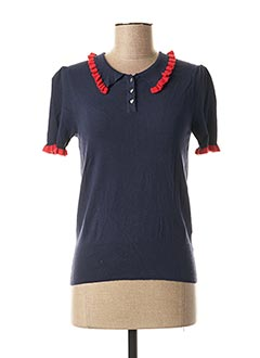 Polo manches courtes bleu I.CODE (By IKKS) pour femme